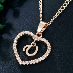 Jewelry - Romantic Love Pendant Necklace Initial Letter New